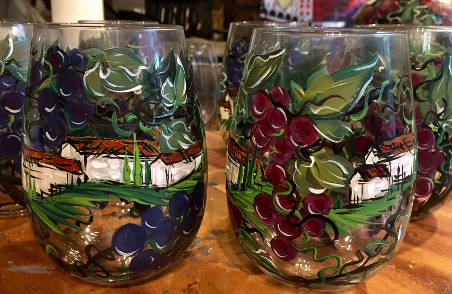 2018-10-16 Grapes and Villas Painting on Glass