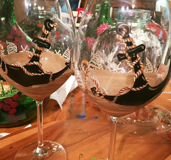 2018-09-20 Anchor, Sand and Surf Wine Glass Painting