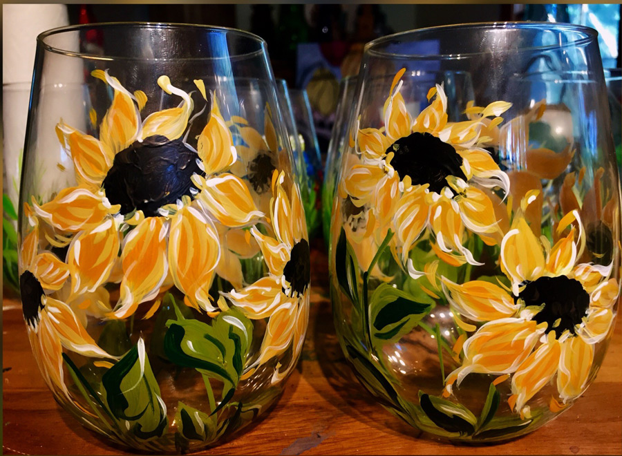 2018-10-16 Sunflowers Painting on Glass