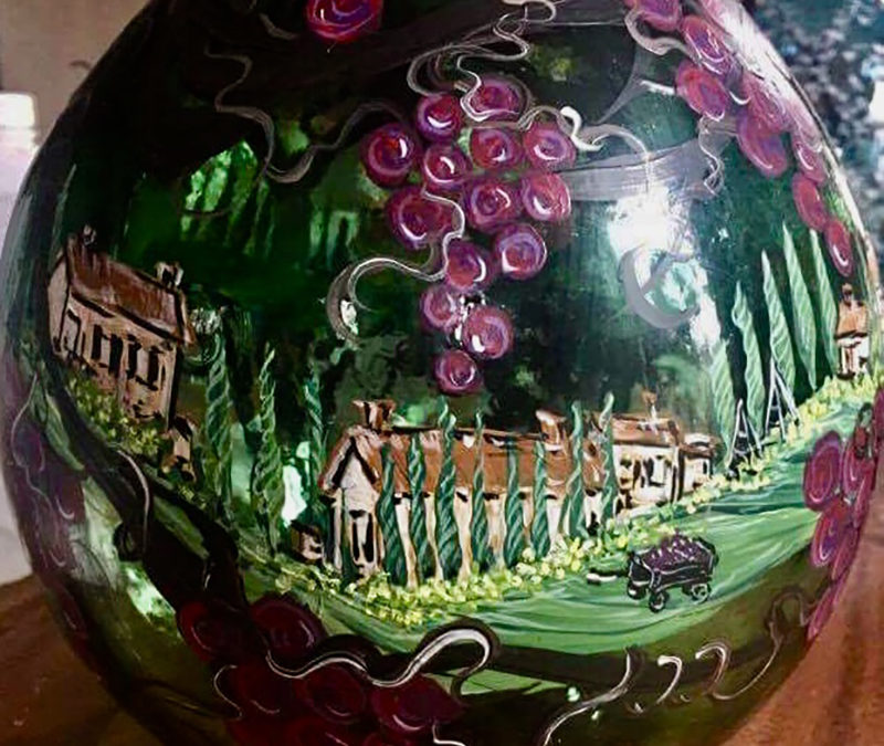2018-10-24 Grapes and Villa Painting on Glass